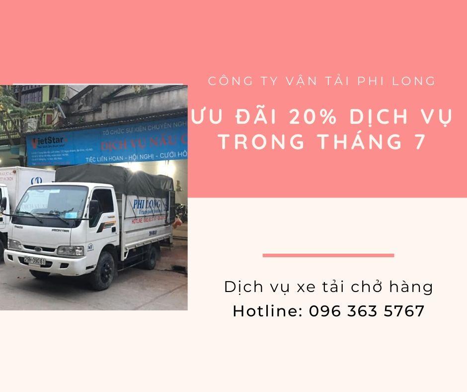Dịch vụ cho thuê xe tải Phi Long tại xã Quất Động